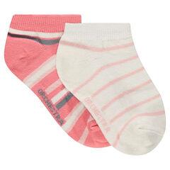 Junior - Lot de 2 paires de chaussettes courtes rayées