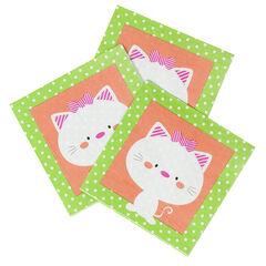 Lot de 20 serviettes en papier motif chat