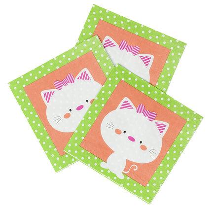 Set met 20 papieren verjaardagsservetten met kattenmotief