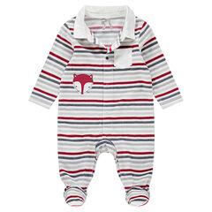 Gestreepte pyjama van velours met streepjes en geborduurde vos met strepen