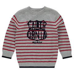 Pull en tricot fin à rayures avec print forme écusson