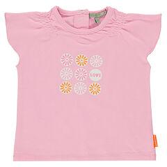 Tee-shirt prints fleurs pailletées