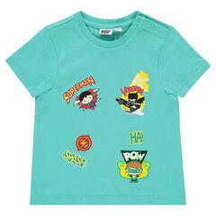 Tee-shirt manches courtes JUSTICE LEAGUE - CHIBI badges super-héros