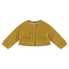 Geïriseerde tricotvest met voering van sherpastof en zakken
