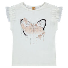 T-shirt met korte mouwen uit jerseystof met ruches van tule en vlinder
