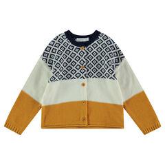 Gilet en tricot contrasté avec motif jacquard