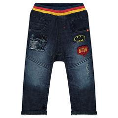 Jeans effet used avec badges en bouclette BATMAN