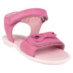 Open schoenen in leder in roze kleur met strik