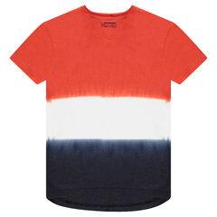 Junior - T-shirt met korte mouwen uit jerseystof met contrasterend tie and dye-effect