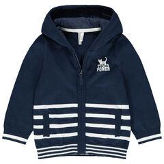 Gilet en tricot à capuche et rayures contrastées