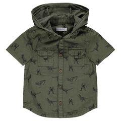 Chemise manches courtes à capuche avec dinosaures all-over
