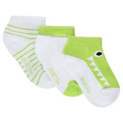 Lot de 3 paires de chaussettes courtes avec crocodile en jacquard et rayures