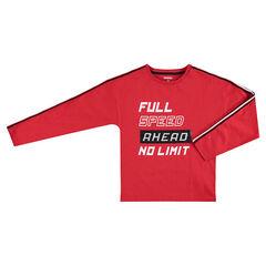 Junior - T-shirt met lange mouwen uit jerseystof met boodschap en magische lovertjes