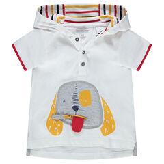 T-shirt met korte mouwen en kap met ritssluiting