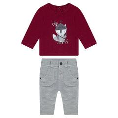 Ensemble van t-shirt en broek met visgraatmotief uit jerseystof.