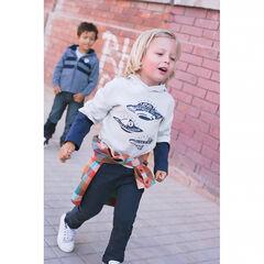Tee-shirt manches longues à capuche effet 2 en 1 print soucoupes volantes