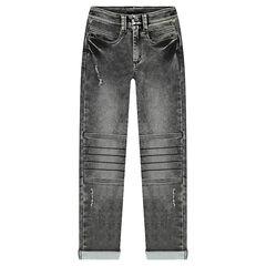 Junior - Jeans en denim like avec découpes sur les genoux