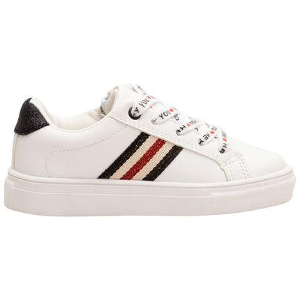 Sneakers met veters met print en iriserende banden aan de zijkanten van maat 28 tot 35
