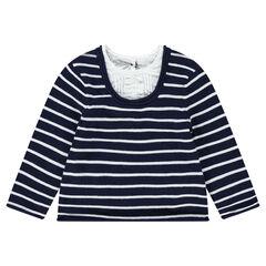 Trui van tricot met 2-in-1 effect en met blouse-inzetstuk