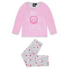 Pyjama en velours avec message et ©Smiley printé