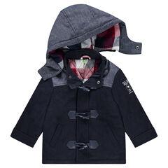 Duffle coat van polyester en wol gevoerd met geruit flanel