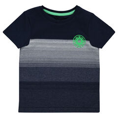Tee-shirt manches courtes avec fines rayures et print fantaisie