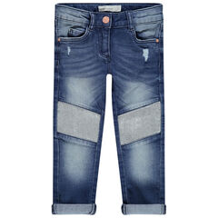 Afgewassen jeans met lovertjes
