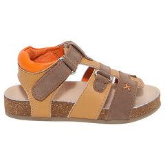 Lederen sandalen met contrasterende riemen en zool uit kurk