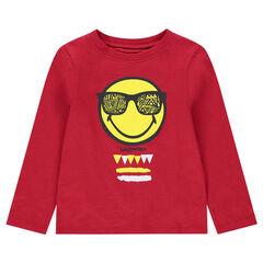 T-shirt met lange rode mouwen van jerseystof met ©Smiley-print