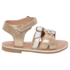 Gouden sandalen uit leder.