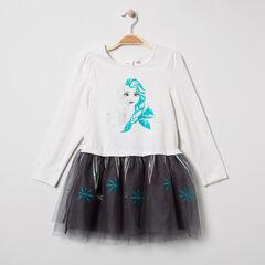 Robe manches longues à tulle et paillettes print Elsa Reine des neiges Disney