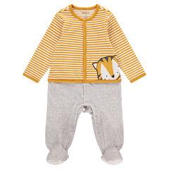 Fluwelen pyjama met 2-in-1 effect en tijgerprint