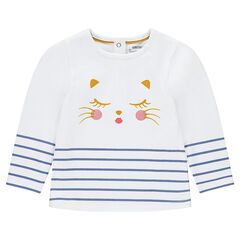 Tee-shirt manches longues avec print chat et rayures