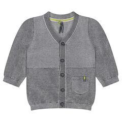 Gilet en tricot gris chiné avec poche