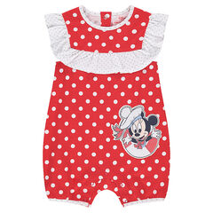 "Korte jumpsuit met stippen ""all-over"" en print ©Disney Minnie"