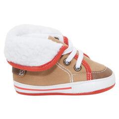 Soepele sneakers met veters en namaakbont