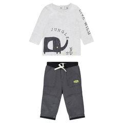 Ensemble avec tee-shirt print éléphant et pantalon en molleton