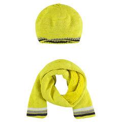 Ensemble bonnet et écharpe en tricot doublure sherpa