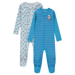 "Set met 2 pyjama's van jerseystof met strepen ""all-over"" en print met panda's ""all-over"""