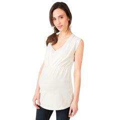 Zwangerschaps- en borstvoedingstuniek met korte mouwen