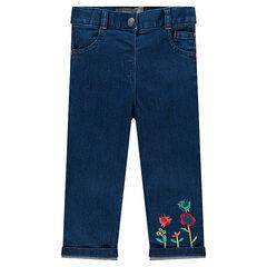Slim-fit jeans met geborduurde bloemen