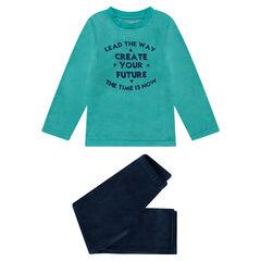 Pyjama van twee materialen met opschriften