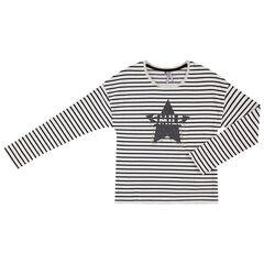 Junior - T-shirt met lange mouwen uit jerseystof met strepen en print met sterren
