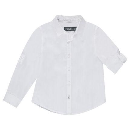 Junior - Effen hemd met lange mouwen van katoen