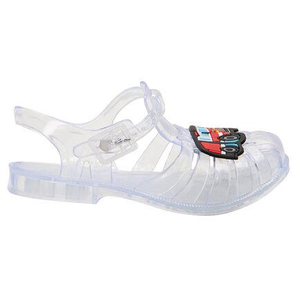 Transparante strandschoenen met geplastificeerde vrachtwagen van maat 24 tot 29