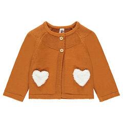 Camelkleurige tricotvest met zakken van sherpa in hartvorm