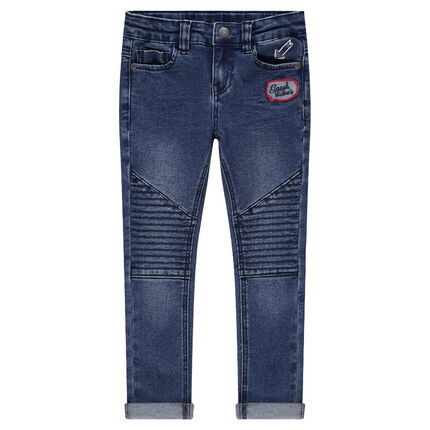 Slim-fit jeans met used en crinkle-effect, badge en print