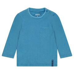 Tee-shirt manches longues côtelé avec poche plaquée