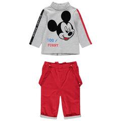 Ensemble met T-shirt met print van Mickey en broek van geribd velours
