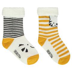 Set met 2 paar matching sokken met strepen en dieren van jacquard